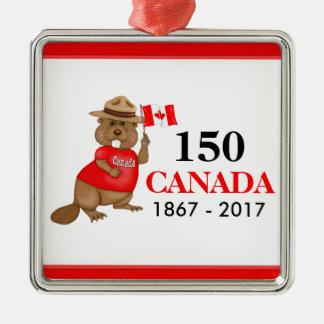 Stolz kanadischer Jahrestag des Biber-150 Quadratisches Silberfarbenes Ornament