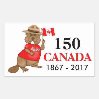 Stolz kanadischer Jahrestag des Biber-150 Rechteckiger Aufkleber