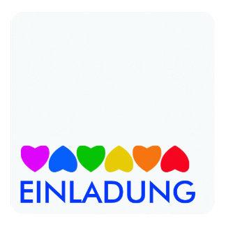 Stolz-Regenbogen-Herz-Linie Quadratische 13,3 Cm Einladungskarte