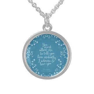 Stolz-und Vorurteil-BlumenLiebe-Zitat Jane Austen Sterling Silberkette