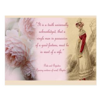 Stolz-und Vorurteil-Single-Mann, Jane Austen Postkarte