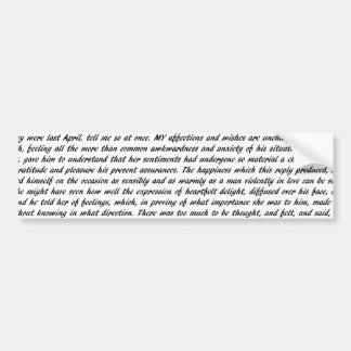 Stolz-und Vorurteil-Text Autoaufkleber