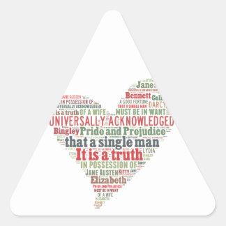 Stolz-und Vorurteil-Wort-Wolke Dreieckiger Aufkleber