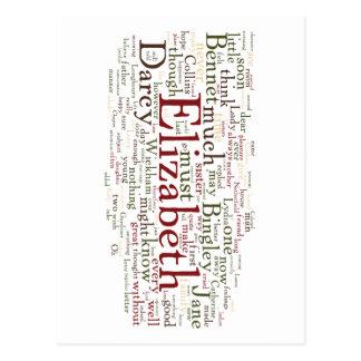 Stolz-und Vorurteil-Wort-Wolke Postkarte