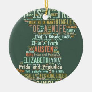 Stolz-und Vorurteil-Wort-Wolke Rundes Keramik Ornament