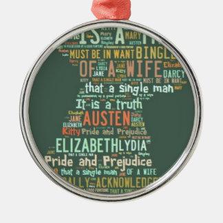 Stolz-und Vorurteil-Wort-Wolke Rundes Silberfarbenes Ornament