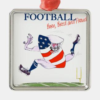 Stolze des Fußballs geborene gezüchtete, tony Quadratisches Silberfarbenes Ornament