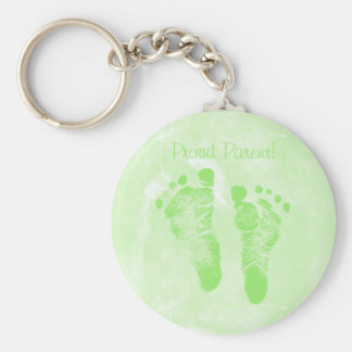 Stolze Elternteil-Baby-Abdruck-neues Baby Annoucem Standard Runder Schlüsselanhänger