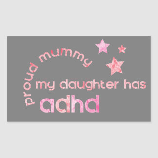 Stolze Mama meine Tochter hat ADHD Rechteckiger Aufkleber