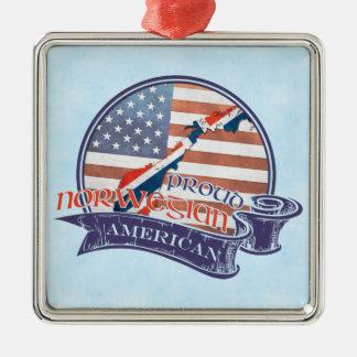 Stolze norwegische amerikanische Dekoration Quadratisches Silberfarbenes Ornament