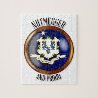 Stolzer Flaggen-Knopf Connecticuts Puzzle