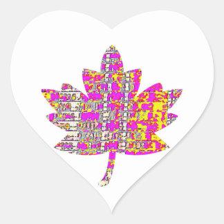 STOLZER KANADIER - rosa mit BlumenAhornblatt Herz-Aufkleber
