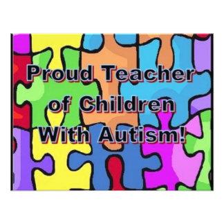 Stolzer Lehrer der Kinder mit Autismus Individuelle Ankündigskarten