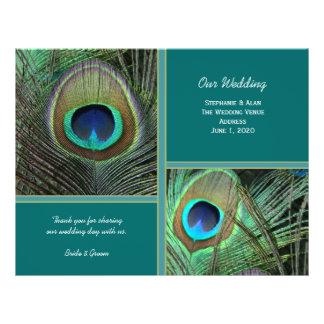 Stolzer Pfau-aquamarine Hochzeits-Programm-Flyer Flyer