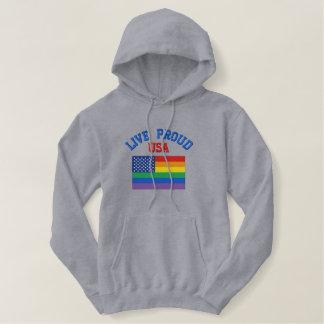 Stolzes USA-Gay Pride-lebhaftsweatshirt Bestickter Hoodie