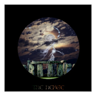 Stonehenge mystische Druide-Kunst Mytho-Fantasie Poster
