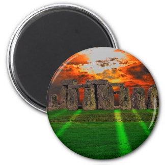 Stonehenge stehende Steine am Sonnenuntergang Runder Magnet 5,1 Cm