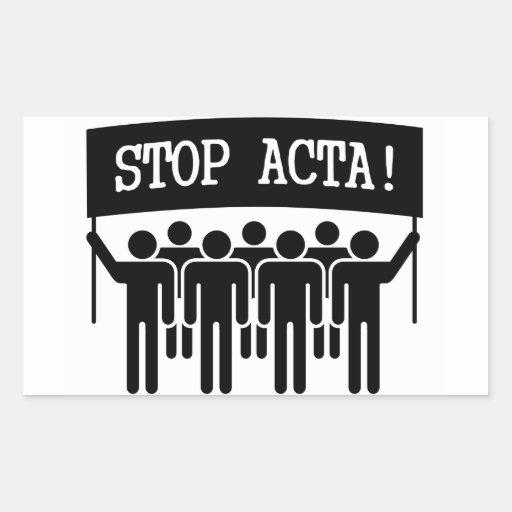 Stoppen Sie ACTA Rechrteckaufkleber
