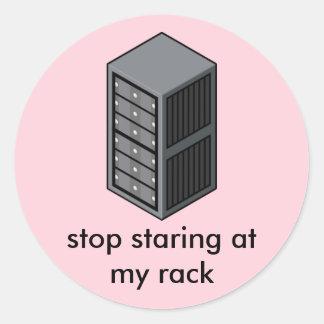 Stoppen Sie, entlang meines Gestell-Stockes | Runder Aufkleber