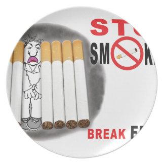 Stoppen Sie, Erinnerungen zu rauchen - nicht mehr Melaminteller