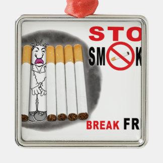 Stoppen Sie, Erinnerungen zu rauchen - nicht mehr Quadratisches Silberfarbenes Ornament