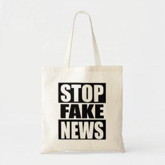 Stoppen Sie Fake-Nachrichten Tragetasche