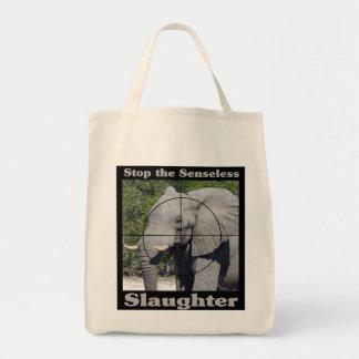 Stoppen Sie Gemetzel-Elefanten Einkaufstasche