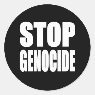 Stoppen Sie Genozid. Protestieren Sie Mitteilung Runder Aufkleber