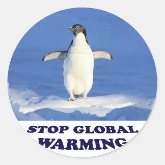 Stoppen Sie globale Erwärmung multiplizieren Runder Aufkleber