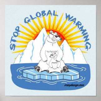 Stoppen Sie globale Erwärmungs-Bären Poster