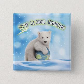 Stoppen Sie globalen Erwärmungs-polarer Bärn-Knopf Quadratischer Button 5,1 Cm