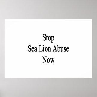 Stoppen Sie Seelöwe-Missbrauch jetzt Poster