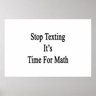 Stoppen Sie simsen es ist Zeit für Mathe Poster