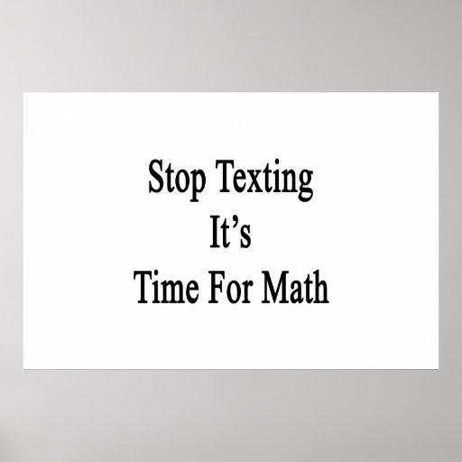 Stoppen Sie simsen es ist Zeit für Mathe Plakat