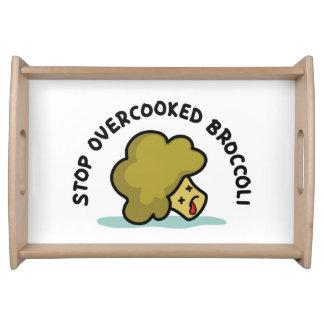 Stoppen Sie übergekochten Brokkoli Tablett