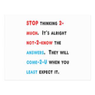 STOPPEN Sie, zu viel zu denken: Klugheit Postkarten