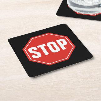 Stoppschild Rechteckiger Pappuntersetzer