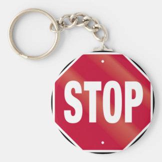 Stoppschild Standard Runder Schlüsselanhänger