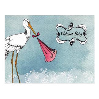 Storch-Baby-Mitteilung Postkarte