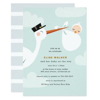 Schön Storch Babyparty Einladung Mit Wolken Karte