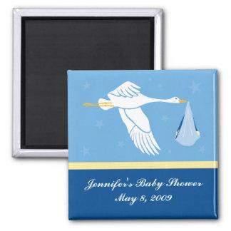 Storch-Babyparty-Magnet - Blau Quadratischer Magnet