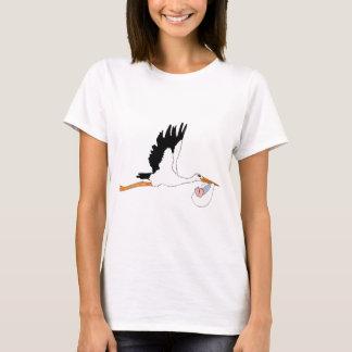 Storch, der Baby liefert T-Shirt