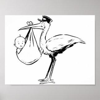 Storch, der ein Baby-Plakat hält Poster