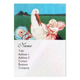 STORCH-DOPPELBabyparty-MONOGRAMM, weißes Visitenkarte