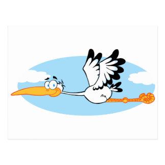 Storch-Maskottchen-Cartoon-Charakter Postkarte