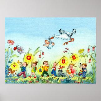 Storch mit Baby - Kinderzimmer-Plakat Poster