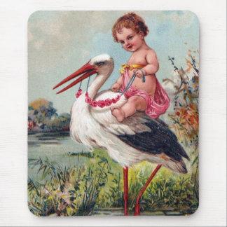 Storch und Baby ab 1909 Mauspad