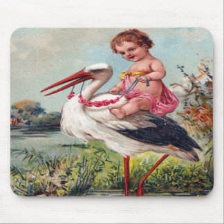 Storch und Baby ab 1909 Mousepads