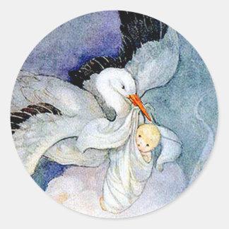 Storch und Baby Runder Aufkleber