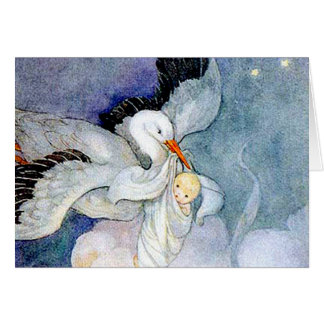 Storch und Baby Grußkarten